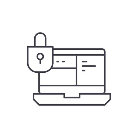 Data protection system line icon concept. Data protection system vector linear illustration, sign, symbol
