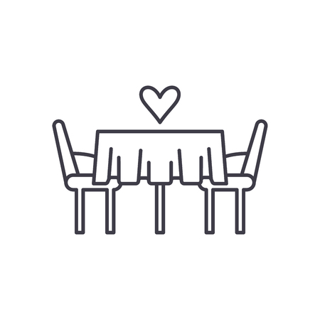 Date in the restaurant line icon concept. Date in the restaurant vector linear illustration, sign, symbol