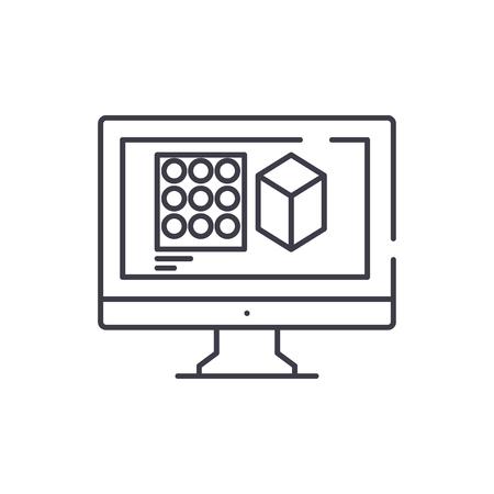Design designing line icon concept. Design designing vector linear illustration, sign, symbol