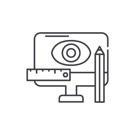 Design methodology line icon concept. Design methodology vector linear illustration, sign, symbol