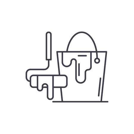 Design works line icon concept. Design works vector linear illustration, sign, symbol Illusztráció