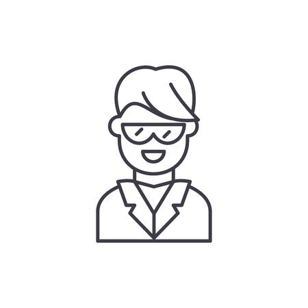 Dentist line icon concept. Dentist vector linear illustration, sign, symbol