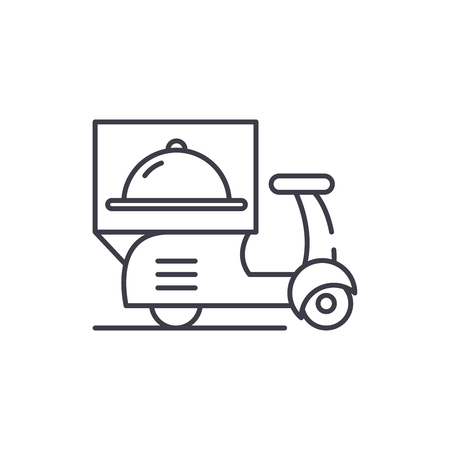 Delivery from restaurants line icon concept. Delivery from restaurants vector linear illustration, sign, symbol Illustration