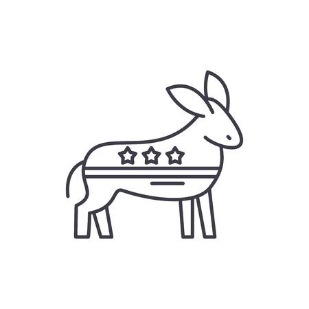Democratic ass line icon concept. Democratic ass vector linear illustration, sign, symbol Illustration