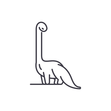 Diplodocus line icon concept. Diplodocus vector linear illustration, sign, symbol Illustration