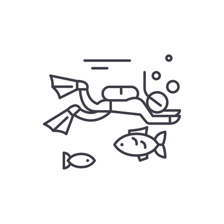 Diving line icon concept. Diving vector linear illustration, sign, symbol