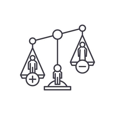 Divorce proceedings line icon concept. Divorce proceedings vector linear illustration, sign, symbol Stockfoto - 112414558