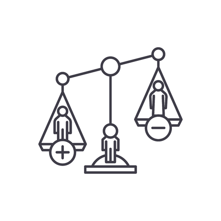 Divorce proceedings line icon concept. Divorce proceedings vector linear illustration, sign, symbol