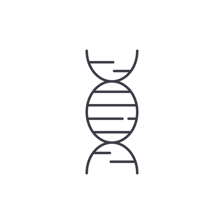 Dna line icon concept. Dna vector linear illustration, sign, symbol