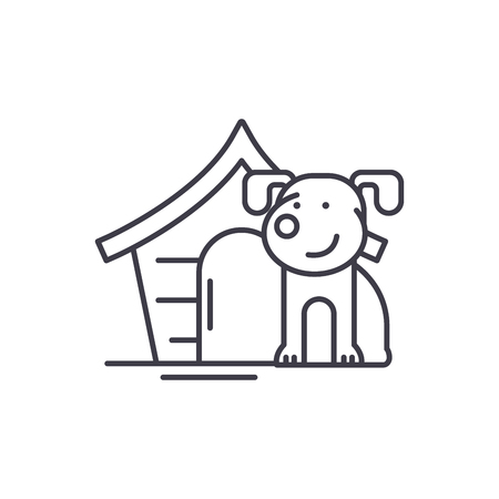 Domestic dog line icon concept. Domestic dog vector linear illustration, sign, symbol Reklamní fotografie - 112692018
