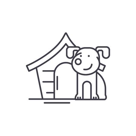 Haushund Symbol Leitung Konzept. Lineare Illustration des Haushundvektors, Zeichen, Symbol Vektorgrafik