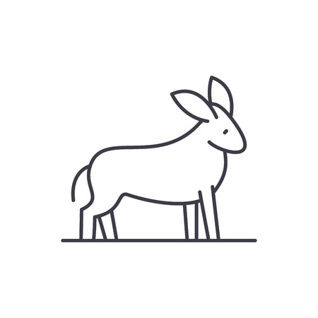 Donkey line icon concept. Donkey vector linear illustration, sign, symbol  イラスト・ベクター素材
