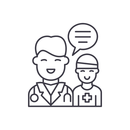 Doctors help to the patient line icon concept. Doctors help to the patient vector linear illustration, sign, symbol