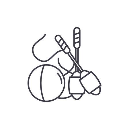 Easy gymnastics line icon concept. Easy gymnastics vector linear illustration, sign, symbol