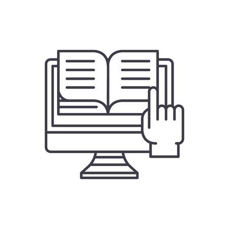 Ebooks line icon concept. Ebooks vector linear illustration, sign, symbol