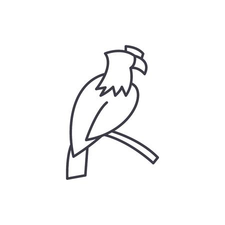 Eagle line icon concept. Eagle vector linear illustration, sign, symbol Çizim