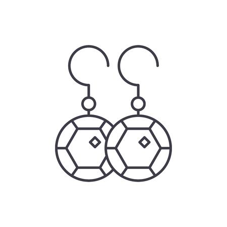 Koncepcja ikona linii kolczyk. Kolczyk wektor ilustracja liniowa, znak, symbol