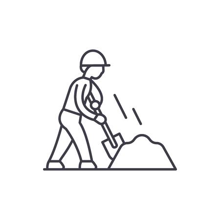 Earthworks line icon concept. Earthworks vector linear illustration, sign, symbol