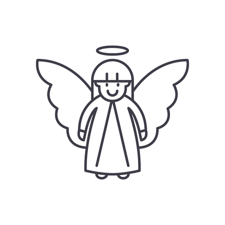 Easter angel line icon concept. Easter angel vector linear illustration, sign, symbol Vettoriali