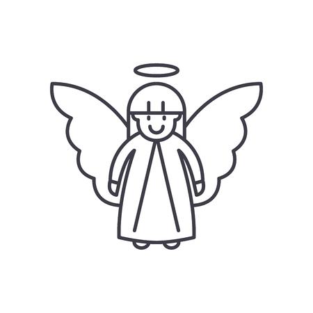Easter angel line icon concept. Easter angel vector linear illustration, sign, symbol Illustration