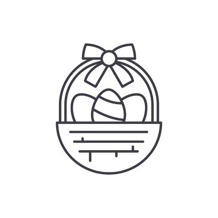 Easter basket line icon concept. Easter basket vector linear illustration, sign, symbol Illustration