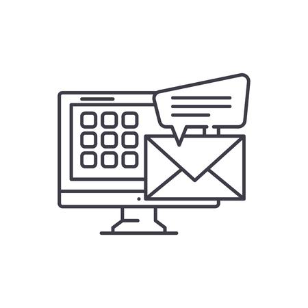 E mail line icon concept. E mail vector linear illustration, sign, symbol
