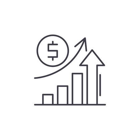 Economic growth line icon concept. Economic growth vector linear illustration, sign, symbol 免版税图像 - 112414687