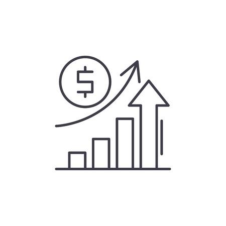 Wirtschaftswachstum Symbol Leitung Konzept. Lineare Illustration des Wirtschaftswachstumsvektors, Zeichen, Symbol