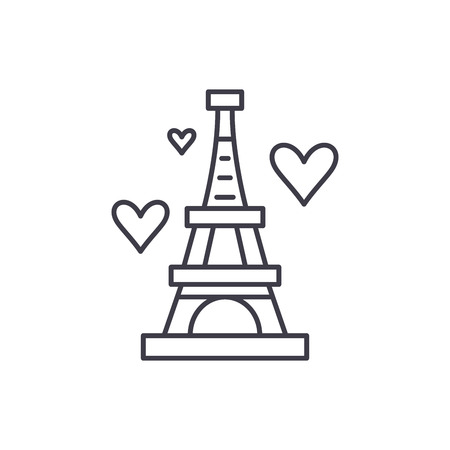 Eiffel tower line icon concept. Eiffel tower vector linear illustration, sign, symbol