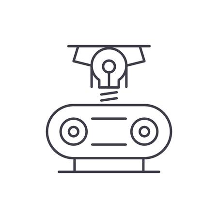 Electrogeneration line icon concept. Electrogeneration vector linear illustration, sign, symbol