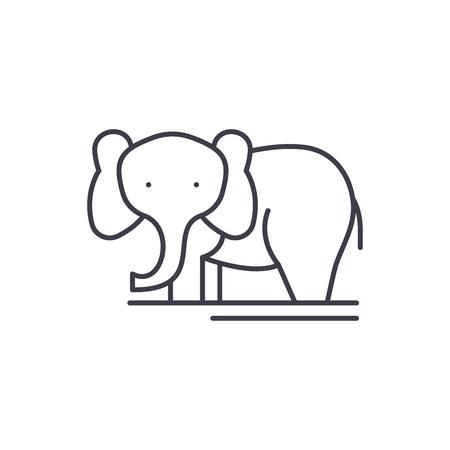 Elephant line icon concept. Elephant vector linear illustration, sign, symbol