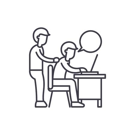 Délégation du concept d'icône de ligne de travail. Délégation de travail illustration linéaire vectorielle, signe, symbole