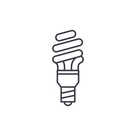 Energy saving line icon concept. Energy saving vector linear illustration, sign, symbol Archivio Fotografico - 127493569