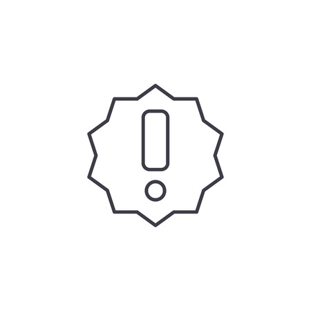 Exclamation line icon concept. Exclamation vector linear illustration, sign, symbol Ilustrace