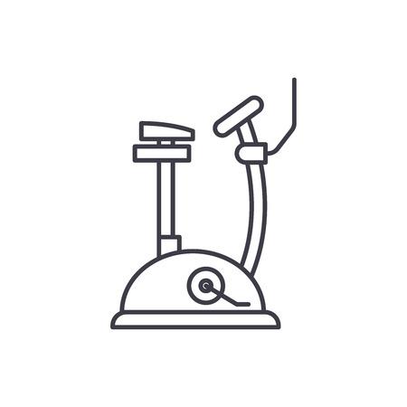 Exercise bike line icon concept. Exercise bike vector linear illustration, sign, symbol Archivio Fotografico - 127493572
