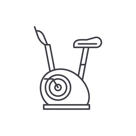 Exercise bikes line icon concept. Exercise bikes vector linear illustration, sign, symbol Stock Vector - 112414682