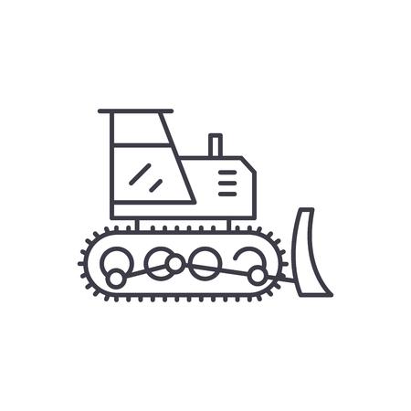 Excavator line icon concept. Excavator vector linear illustration, sign, symbol Illustration