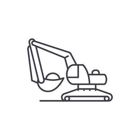 Excavator works line icon concept. Excavator works vector linear illustration, sign, symbol