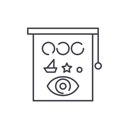 Eyesight check line icon concept. Eyesight check vector linear illustration, sign, symbol
