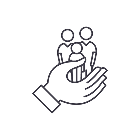 Family care line icon concept. Family care vector linear illustration, sign, symbol