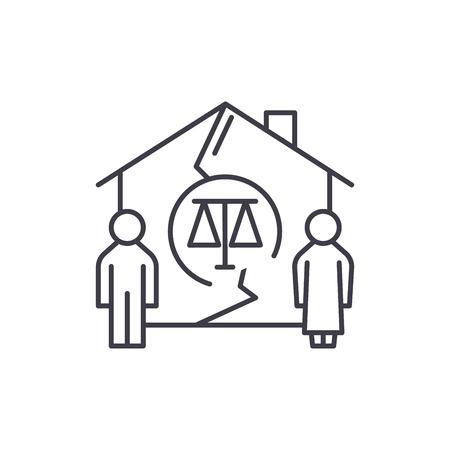 Family divorce line icon concept. Family divorce vector linear illustration, sign, symbol