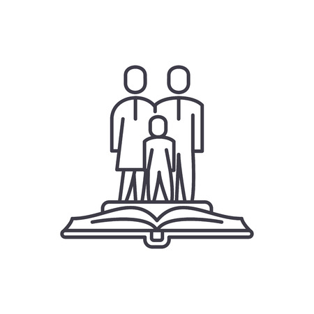 Family law line icon concept. Family law vector linear illustration, sign, symbol