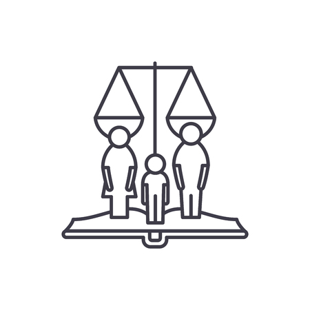 Family rights line icon concept. Family rights vector linear illustration, sign, symbol