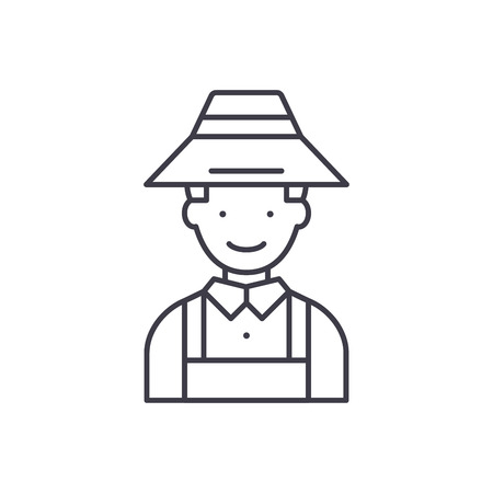 Farmer line icon concept. Farmer vector linear illustration, sign, symbol Stock Illustratie