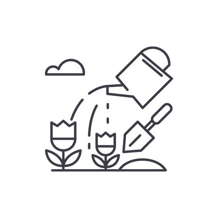 Farmland line icon concept. Farmland vector linear illustration, sign, symbol