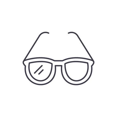 Fashionable glasses line icon concept. Fashionable glasses vector linear illustration, sign, symbol Banque d'images - 127493600