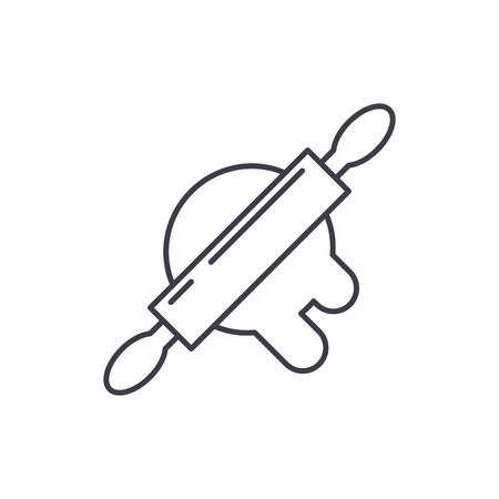 Dough preparation line icon concept. Dough preparation vector linear illustration, sign, symbol