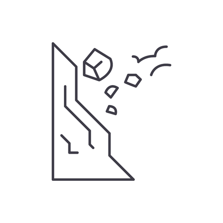 Stones falling line icon concept. Stones falling vector linear illustration, sign, symbol