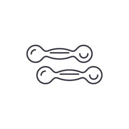Dumbbells line icon concept. Dumbbells vector linear illustration, sign, symbol Illustration