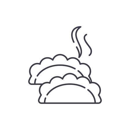 Dumplings line icon concept. Dumplings vector linear illustration, sign, symbol